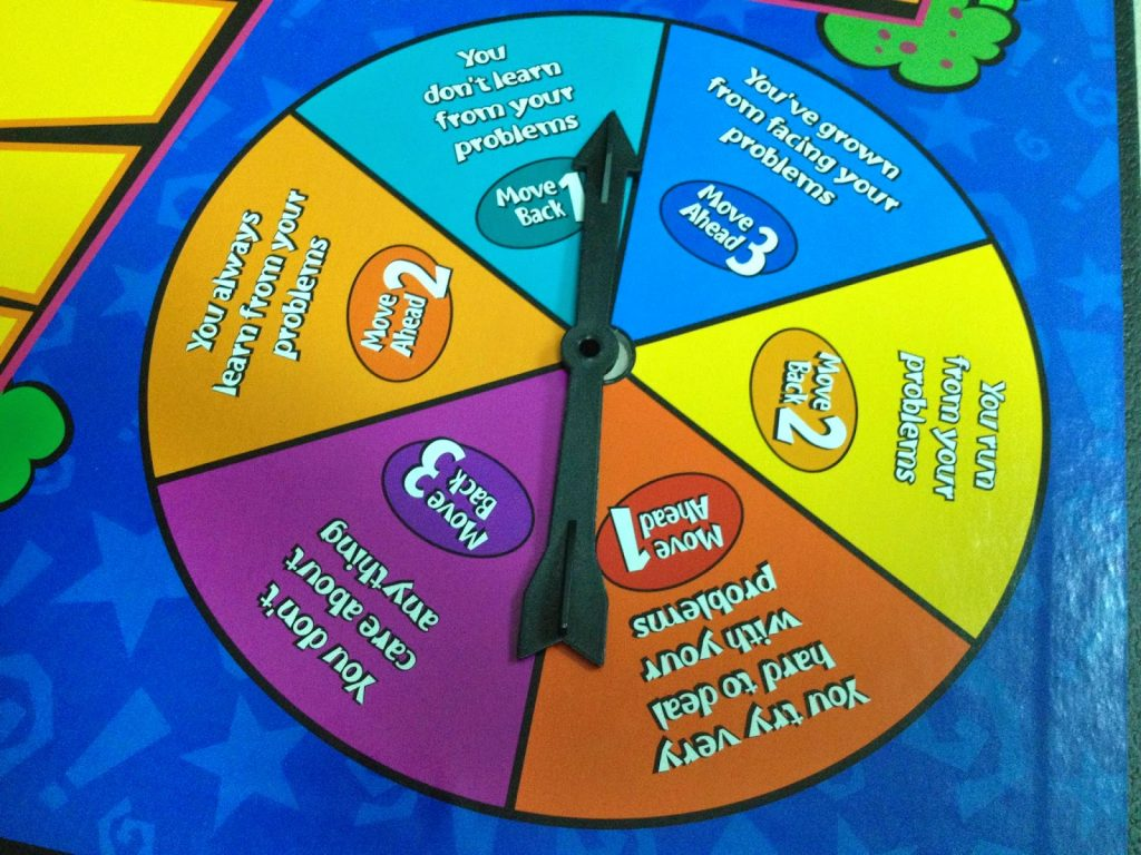 Review and image of The Self-Esteem Game spinner