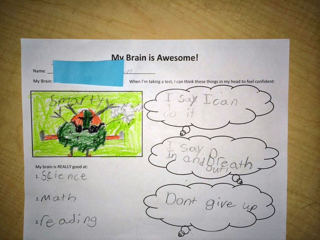 Student sample of completed My Brain is Awesom Worksheet