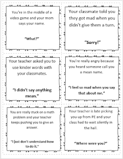 School counselor teaching body language and tone of voice using reproducible scenario card.