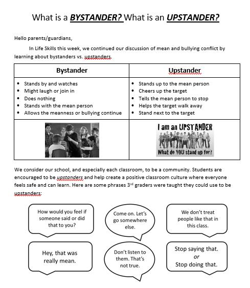 Upstander lesson plan letter to parents/guardians