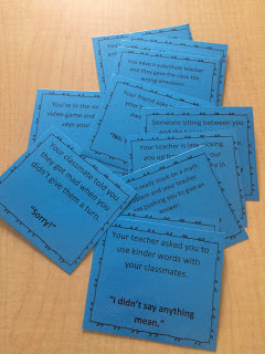 School counselor lesson plan on body language and tone of voice using role play scenarios, practicing tone of voice printed on bright blue paper