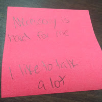 Example of a student's exit ticket, self-identifying that Necessary is the morst difficult part of THINK for him.