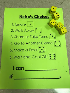 Kelso's Choice non-verbal activity using die