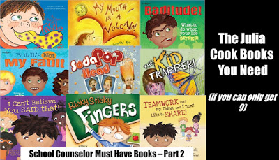 School counselors bibliotherapy: Julia Cook Books you need and short reviews