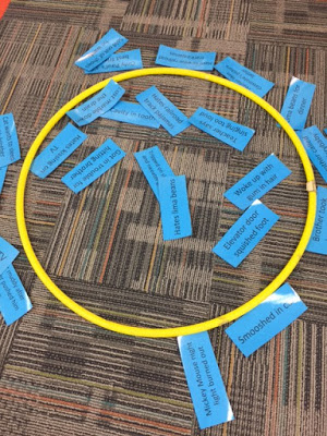 """Deciding if problems are inside our outside of our control using a hula hoop and examples of Alexander's problems from """"Alexander and the terrible, horrible, no good, very bad day""""."""