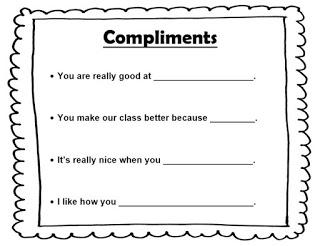 Compliments lesson plan sentence stems