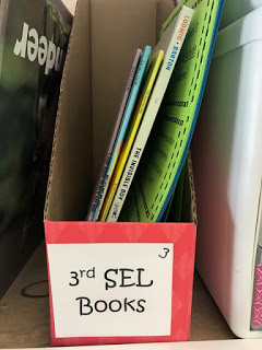Picture of our 3rd grade SEL books with their accompanying extension activites