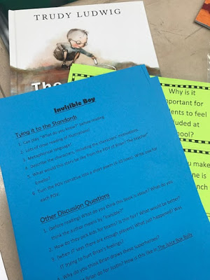 Classroom SEL library book examples of standard based and counselor based discussion question.