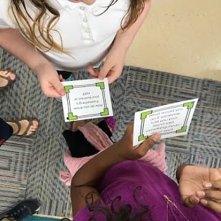 Students reading task card's for the the Trouble Talk lesson plan