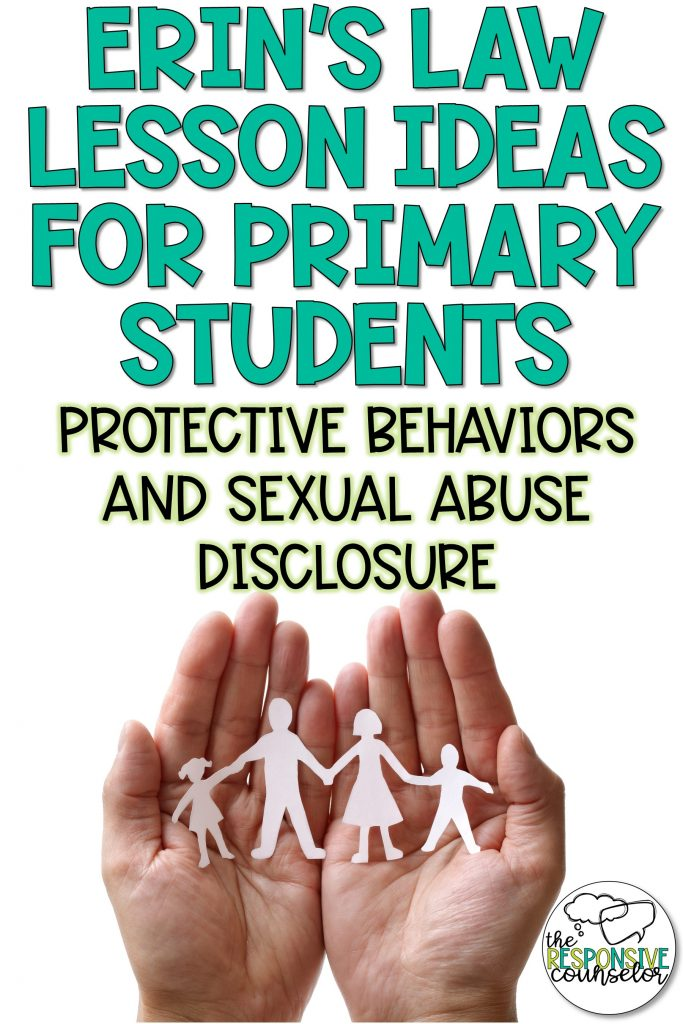 Erins's Law activity and lesson and book ideas for primary students about sexual abuse disclosure and protective behaviors
